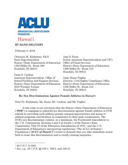 Demand letter aclu of hawaii aclu of hawaii disappointed by doe response to title ix demand letter altavistaventures Image collections